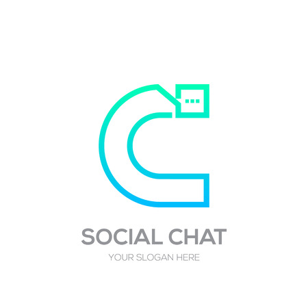 Letter C with Chat line shape, Social Talk, Social media, Abstract speak, Square speech