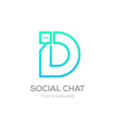 Letter D with Chat line shape, Social Talk, Social media, Abstract speak, Square speech