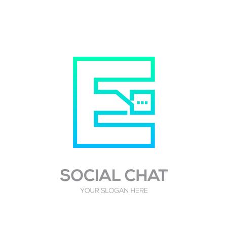 Letter E with Chat line shape, Social Talk, Social media, Abstract speak, Square speech
