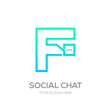 Letter F with Chat line shape, Social Talk, Social media, Abstract speak, Square speech