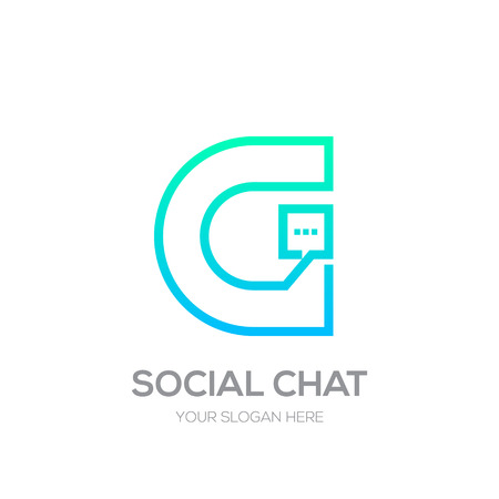Letter G with Chat line shape, Social Talk, Social media, Abstract speak, Square speech logotype