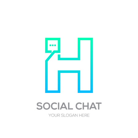 Letter H with Chat line shape, Social Talk, Social media, Abstract speak, Square speech logotype Иллюстрация
