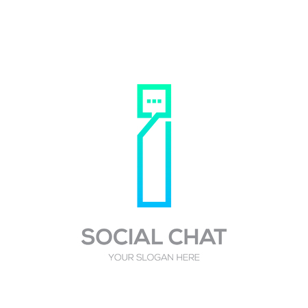 Letter i with Chat line shape, Social Talk, Social media, Abstract speak, Square speech logotype