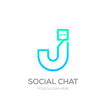 Letter J with Chat line shape, Social Talk, Social media, Abstract speak, Square speech logotype