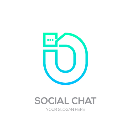 Letter N with Chat logo line shape, Social Talk, Social media, Abstract speak, Square speech logotype