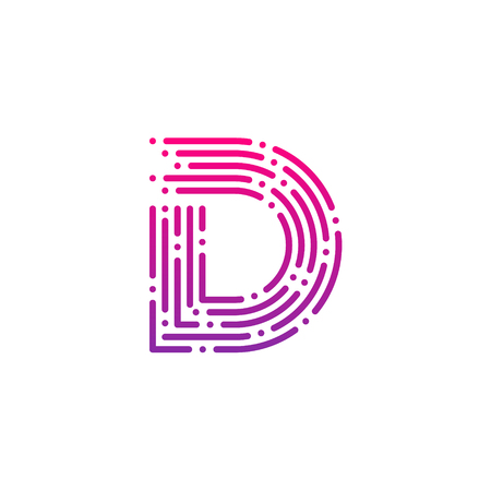 Letter D met Dots and Lines-logo, Fast Speed, Delivery, Digital en Technology voor uw huisstijl