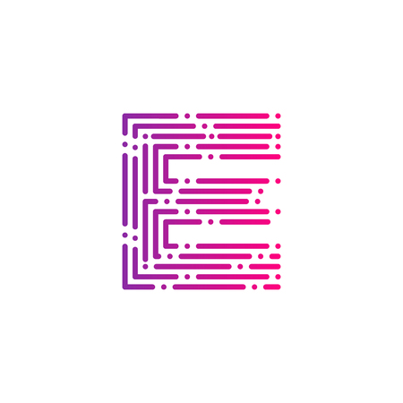 Letter E with Dots and Lines logotype,Fast Speed, Delivery, Digital and Technology for your Corporate identity Illustration