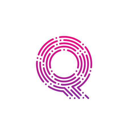 Letter Q with Dots and Lines logotype,Fast Speed, Delivery, Digital and Technology for your Corporate identity Illustration
