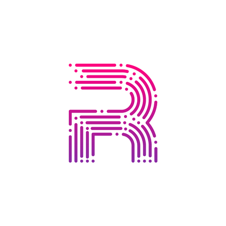 Letter R with Dots and Lines logotype,Fast Speed, Delivery, Digital and Technology for your Corporate identity