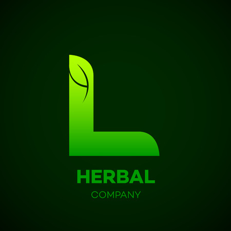 Letter L Green leaf, Herbal, Pharmacy, organic, natural, bio and eco friendly vector illustration Ilustração