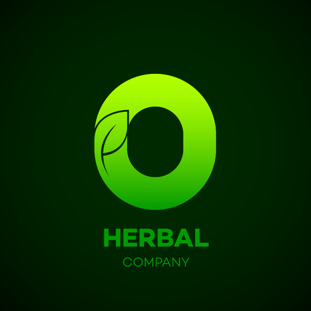 Letter O Green leaf, Herbal, Pharmacy, organic, natural, bio and eco friendly vector illustration