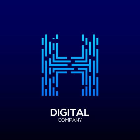 Lettre H avec logotype Carré, Dots et Lignes, Vitesse Rapide, Livraison, Numérique et Technologie pour votre identité d'entreprise