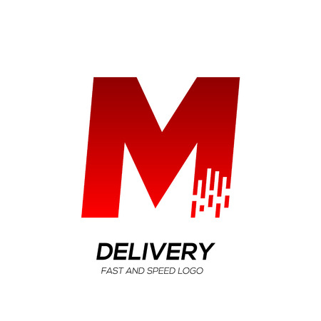 Letter M with Delivery service , Fast Speed, Moving and Quick, Digital and Technology for your Corporate identity