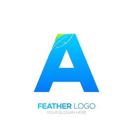 type writer: Letter A with Feather icon, Fountain pen, Law, Legal, Lawyer, Copywriter, Writer icon type for your Corporate identity