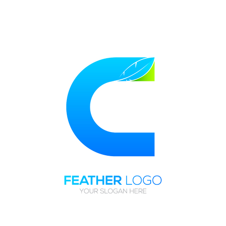 type writer: Letter C with Feather icon, Fountain pen, Law, Legal, Lawyer, Copywriter, Writer icon type for your Corporate identity