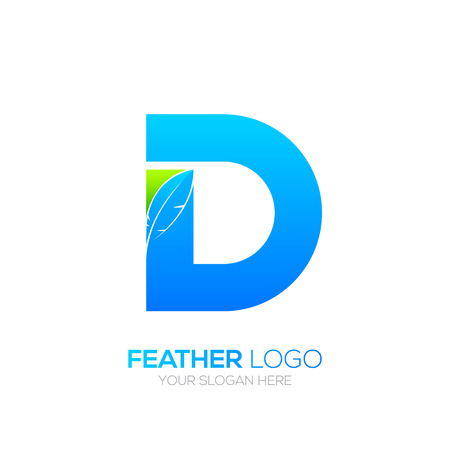 type writer: Letter D with Feather icon, Fountain pen, Law, Legal, Lawyer, Copywriter, Writer icon type for your Corporate identity