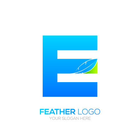 type writer: Letter Ewith Feather icon, Fountain pen, Law, Legal, Lawyer, Copywriter, Writer icon type for your Corporate identity