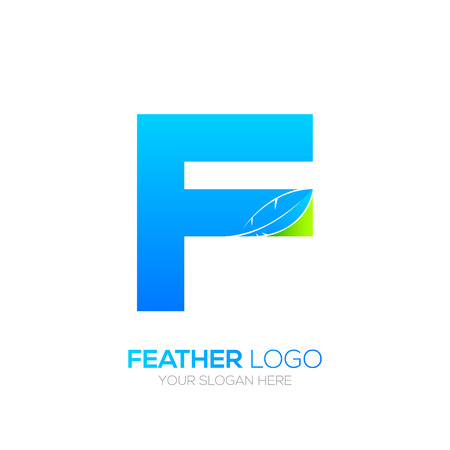type writer: Letter F with Feather icon, Fountain pen, Law, Legal, Lawyer, Copywriter, Writer icon type for your Corporate identity Illustration