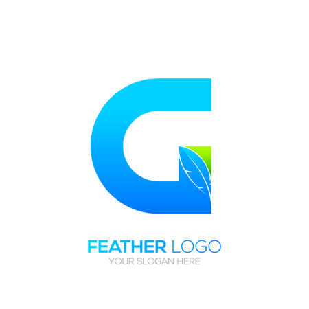 type writer: Letter G wwith Feather icon, Fountain pen, Law, Legal, Lawyer, Copywriter, Writer icon type for your Corporate identity