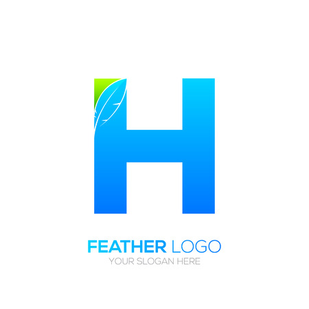 type writer: Letter H with Feather icon, Fountain pen, Law, Legal, Lawyer, Copywriter, Writer icon type for your Corporate identity.