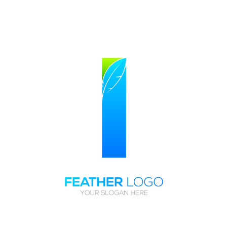 type writer: Letter i with Feather icon, Fountain pen, Law, Legal, Lawyer, Copywriter, Writer icon type for your Corporate identity. Illustration