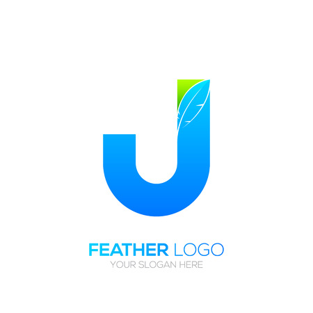 type writer: Letter J with Feather icon, Fountain pen, Law, Legal, Lawyer, Copywriter, Writer icon type for your Corporate identity.
