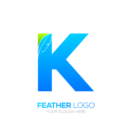 type writer: Letter K with Feather icon, Fountain pen, Law, Legal, Lawyer, Copywriter, Writer icon type for your Corporate identity.