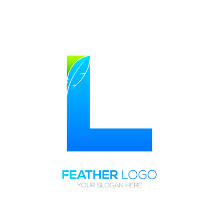 type writer: Letter L with Feather icon, Fountain pen, Law, Legal, Lawyer, Copywriter, Writer icon type for your Corporate identity.
