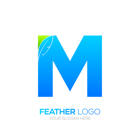 type writer: Letter M with Feather icon, Fountain pen, Law, Legal, Lawyer, Copywriter, Writer icon type for your Corporate identity.