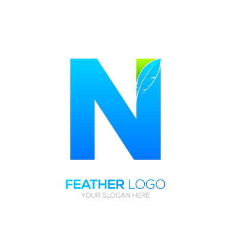 type writer: Letter N with Feather icon, Fountain pen, Law, Legal, Lawyer, Copywriter, Writer icon type for your Corporate identity.