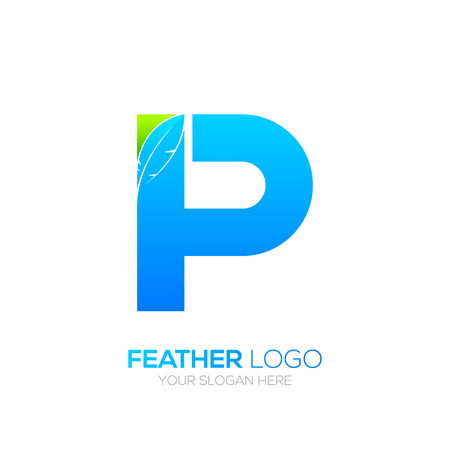 type writer: Letter P with Feather icon, Fountain pen, Law, Legal, Lawyer, Copywriter, Writer icon type for your Corporate identity