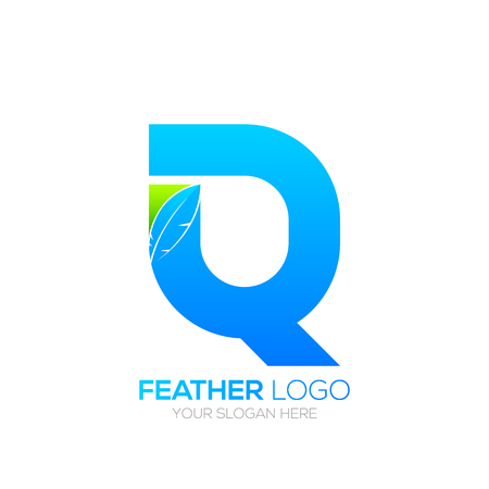 type writer: Letter Q with Feather icon, Fountain pen, Law, Legal, Lawyer, Copywriter, Writer icon type for your Corporate identity Illustration