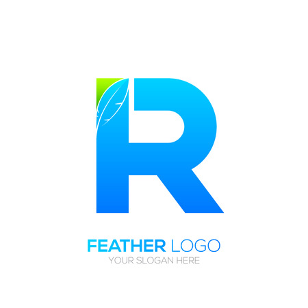 type writer: Letter R with Feather icon, Fountain pen, Law, Legal, Lawyer, Copywriter, Writer icon type for your Corporate identity Illustration