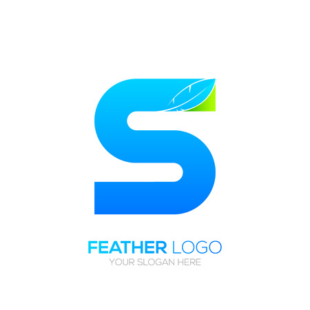 type writer: Letter S with Feather icon, Fountain pen, Law, Legal, Lawyer, Copywriter, Writer icon type for your Corporate identity