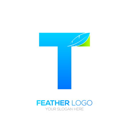 type writer: Letter T with Feather icon, Fountain pen, Law, Legal, Lawyer, Copywriter, Writer icon type for your Corporate identity Illustration