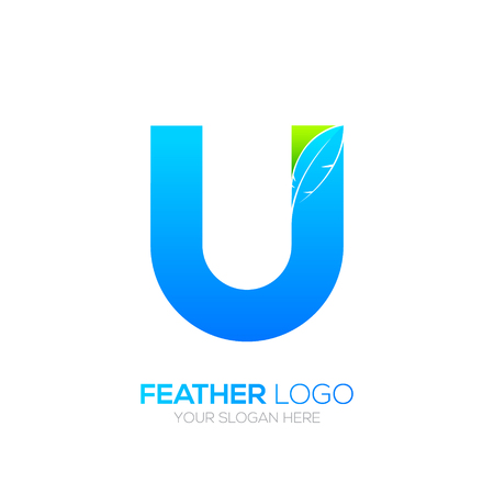 type writer: Letter U with Feather icon, Fountain pen, Law, Legal, Lawyer, Copywriter, Writer icon type for your Corporate identity Illustration