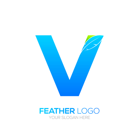type writer: Letter V with Feather icon, Fountain pen, Law, Legal, Lawyer, Copywriter, Writer icon type for your Corporate identity