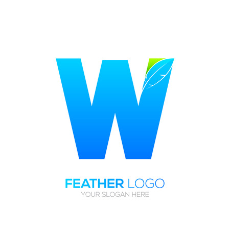 type writer: Letter W with Feather icon, Fountain pen, Law, Legal, Lawyer, Copywriter, Writer icon type for your Corporate identity