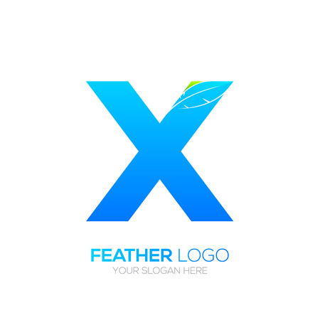 Letter X with Feather icon, Fountain pen, Law, Legal, Lawyer, Copywriter, Writer icon type for your Corporate identity Illustration
