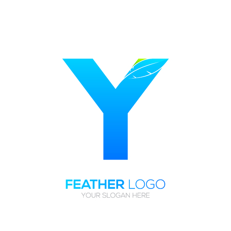 type writer: Letter Y with Feather icon, Fountain pen, Law, Legal, Lawyer, Copywriter, Writer icon type for your Corporate identity Illustration