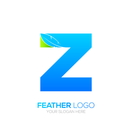 type writer: Letter Z with Feather icon, Fountain pen, Law, Legal, Lawyer, Copywriter, Writer icon type for your Corporate identity