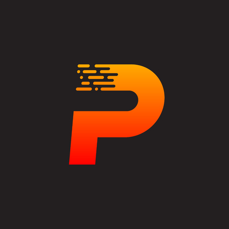 Letter P with Fast icon, Speed, Moving and Quick, Digital and Technology for your Corporate identity.
