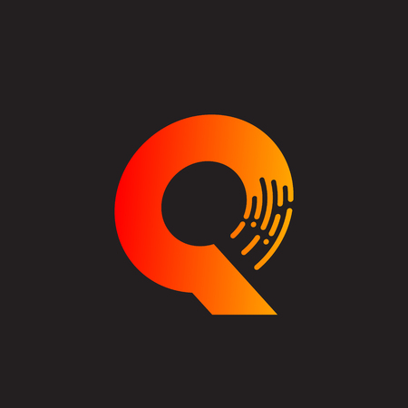 Letter Q with Fast icon, Speed, Moving and Quick, Digital and Technology for your Corporate identity. Иллюстрация