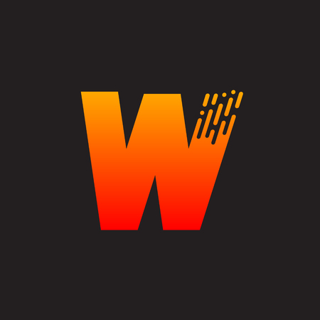Letter W with Fast icon, Speed, Moving and Quick, Digital and Technology for your Corporate identity. Иллюстрация