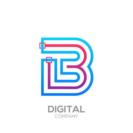 Letter B with Dots and Lines icon type,Square shape, Technology and digital, connection icon.