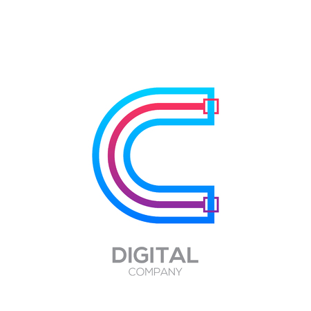 Letter C with Dots and Lines icon type,Square shape, Technology and digital, connection icon. Иллюстрация