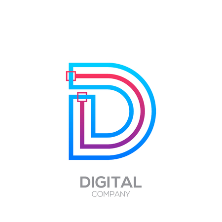 Letter D with Dots and Lines icon type,Square shape, Technology and digital, connection icon. Иллюстрация