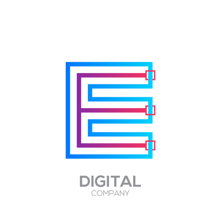 Letter E with Dots and Lines icon type,Square shape, Technology and digital, connection icon.