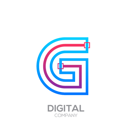 Letter G with Dots and Lines icon type,Square shape, Technology and digital, connection icon. Иллюстрация
