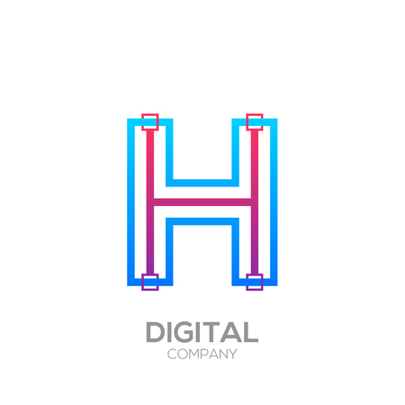 Letter H with Dots and Lines icon type,Square shape, Technology and digital, connection icon.